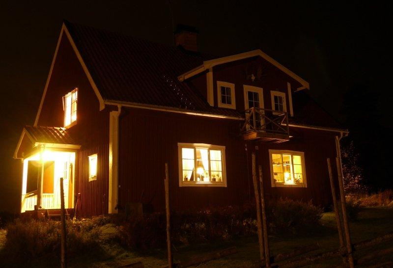 Schwedisches Haus Im Dunkeln