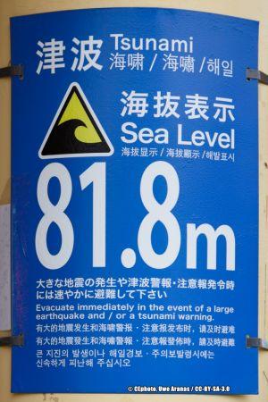 Gefahrenschild Tsunami Japan