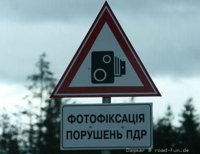 Gefahrenschild Ukraine -  Speedkamera