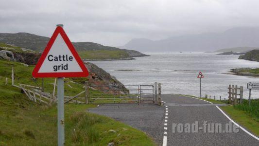 Gefahrenschild außere Hebriden - Rindergitter