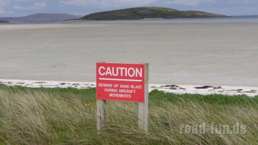 Gefahrenschild outer Hebrides - Flugplatz Barra