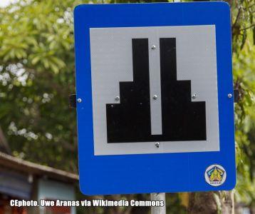 Hinweisschild Indonesien