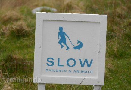 Hinweisschild Outer Hebrides - Langsam fahren, Kinder