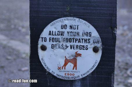 Hinweisschild Schottland - Hunde