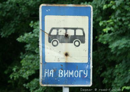 Hinweisschild Ukraine - Bus3