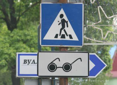 Hinweisschild Ukraine - Zebrastreifen